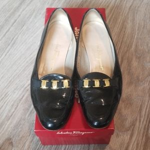 Salvatore Ferragamo Black Loafers Gold Hardware